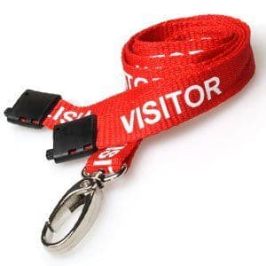 Red Visitor Lanyards, Metal Hook, 25 pack